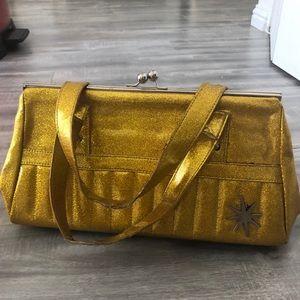 Lux De ville gold yellow glitter sparkle purse